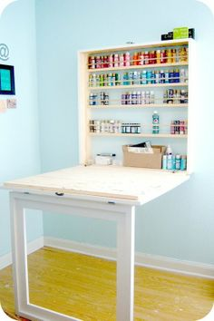 Space Saving Craft Room Desk LOVE this craft table! Great for storage and folds up out of the way! Plus the legs are made out of molding so when the table is put away, it looks like a framed picture! Craft Paint Storage, Acrylic Paint Storage, Kids Craft Storage, Ikea Paint, Room Paint, Diy Casa, My New Room, Room Organization, Home Projects