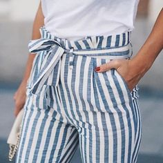 On My Way To Start My Day In Stripes For Spring #fashion #style #fashionista #streetstyle #outfitoftheday #white #tshirt #blueandwhite #stripes #pants #tied #accessory #handbag #summer #cool #chic #posh #stylish #glam #fun #trend #inspiration