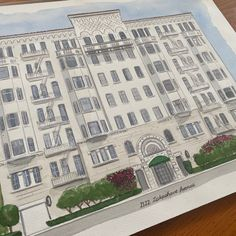 Beautiful apartment building in Oakland CA Watercolor Artwork, Watercolor Portraits, House Paintings, Realtor Gifts, Hand Sketch, Cool Lighting, Custom Paint, That Way, Custom Homes