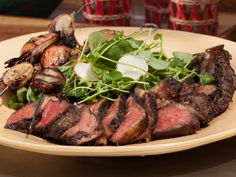 Grilled Cowboy Rib Eye with Watercress Salad Recipe : Geoffrey Zakarian : Food Network - FoodNetwork.com