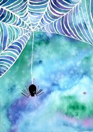 Glue resist spider web. Could get similar effect (and would be simpler with less mess) using a white crayon instead of liquid mask. For watercolor background, coat page with light coat of water, then saturate brush drip around paper (repeat with 1-2 other colors), then swirl around w/ wet brush. Add spider at end after dry with black paint and draw legs w/ Sharpie.