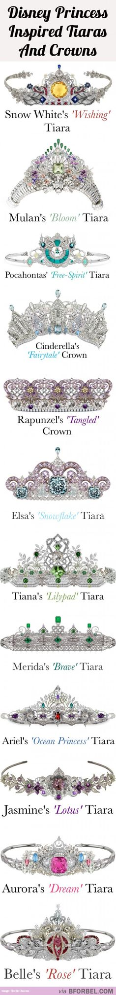12 Disney Princess Tiaras And Crowns…All Set With Beautiful Diamonds, Gems Precious Stones. - I'll take the Cinderella, Rapunzel and of course Ariel tiara, please! Walt Disney, Disney Mode, Disney Fun, Disney Girls, Disney Style, Disney Magic, Disney Nerd, Disney And Dreamworks, Disney Pixar