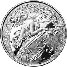 1 oz Silver Antique Round Mucha Collection (Dance) Mintage: This is the second of a six-round series featuring the artwork of the great Alphonse Muc Alphonse Mucha, Contemporary Art For Sale, Custom Coins, Buy Gold And Silver, Coin Design, 3d Cnc, Coin Art, Banner, Sexy Drawings