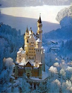 Neuschwanstein Castle, Bavaria. This castle has a tragic tale. King Ludwig II never did get to see it finished, it was completed after he died. It is so beautiful!