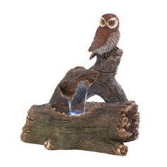 A delightful owl is perched perfectly on a fallen log, ready to beautify your yard or garden. You'll love the sight of this outdoor accent, but when you hear the cascading water as it falls from this sculptural fountain, you'll love the sound of it, too! Submersible electrical pump included.