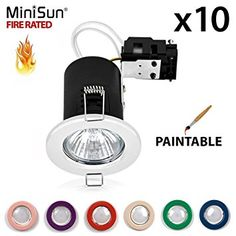 Pack of 10 - MiniSun Fire Rated Paintable Matt White GU10 Recessed Ceiling Downlight / Spotlights £35 Amazon
