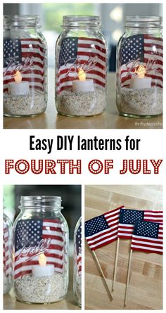 Easy DIY Fourth of July lanternsYou can find July crafts and more on our website.Easy DIY Fourth of July lanterns Fourth Of July Decor, 4th Of July Celebration, 4th Of July Decorations, 4th Of July Party, 4th Of July Ideas, Diy Summer Decorations, 4th July Food, July 4th Wedding, 4th Of July Games
