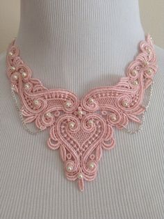 Statement+Pale+Pink+Lace+Bib+Necklace+Statement+by+DragonflyDenim