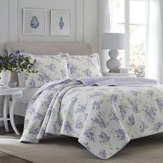 Laura Ashley Keighley Cotton Reversible Quilt Set by Laura Ashley Home Size: Full/Queen King Quilt Sets, Queen Quilt, Laura Ashley Home, Ashley Blue, Purple Quilts, Purple Bedding, Paisley, Indigo, Twin Quilt