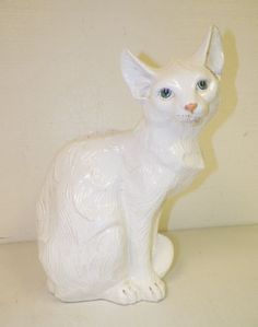 VINTAGE-ITALIAN-ITALY-WHITE-POTTERY-CAT-FIGURE-15-1-2-TALL