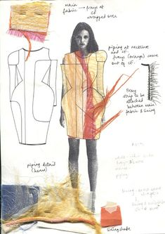 Fashion Sketchbook - fashion design sketches, swatches and design development - fashion design portfolio. collage on top of a figure Fashion Illustration Portfolio, Fashion Design Sketchbook, Illustration Mode, Fashion Portfolio, Fashion Sketches, Fashion Illustrations, Fashion Design Portfolios, Sketchbook Layout, Textiles Sketchbook