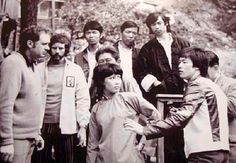 On the set of Enter the Dragon. Director Robert Clouse, Bob Wall, Angela Mao Ying & Bruce Lee.