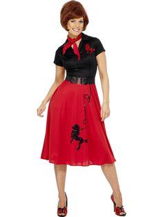 50-luvun puudelimekko. Ihana fiftarityyliin sopiva puna-musta puudelimekko sopii niin teemabileisiin, naamiaisiin kuin vaikka kesäjuhliinkin. Naisellista mekkoa somistavat puudelikuviot on kirjailtu paljetein, joten säihkettäkin täsä naamiaisasusta löytyy. Vuosikymmenen tyyliin sopien naamiaisasuun kuuluu myös kaulaan solmittava huivi sekä vyötäröä korostava vyö.