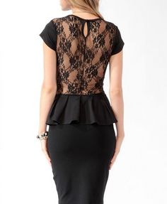lace black peplum top / forever 21