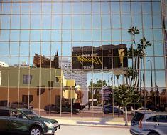 "La Brea Avenue reflections, 2017, acrylic on wood panel, 60 x 75 cm, 23,1/2 x 29,1/2"". By Antti Rytkönen"