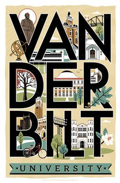 Ready to frame . beautiful Vanderbilt print from local Nashville artist, Lucie Rice (The VU Web office requested this illustration to be created -- and Lucie jumped right on it!