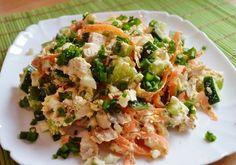 """Vă prezentăm top 3 rețete a celor mai delicioase salate fără maioneză. Acestea se prepară foarte simplu, din cele mai accesibile și naturale ingrediente. Obțineți un aperitiv deosebit de delicios, aromat și aspectuos, ce poate fi servit atât la cina de familie, cât și la masa de sărbătoare. Datorită conținutului caloric redus, acesta este perfect pentru cină. Rețeta Nr.1 – Salată """"Praga"""" INGREDIENTE -300 g piept de pui -4 ouă -1-2 castraveți proaspeți -1 morcov -ceapă verde… Easy Healthy Recipes, Easy Dinner Recipes, Vegetarian Recipes, Cooking Recipes, Mayonnaise, Salmon Recipes, Chicken Recipes, Healthy Meats, Most Delicious Recipe"""