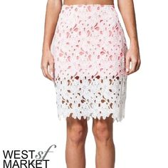 "-SALE- 🎉Two-Tone Lace Skirt White lace skirt with coral/bright pink lining. Perfect for Spring and right on trend. Best paired with a chambray button-down, your favorite hat, and a sunny day. Sizes small, medium, and large available. Measurements: Small- size 2/4, waist: 27-28"", hip: 36-37""; Medium: size 6/8, waist:29-30"", hip: 38-39""; Large: 10/12, waist: 31-32"", hip: 40-41"". West Market SF Skirts Pencil"