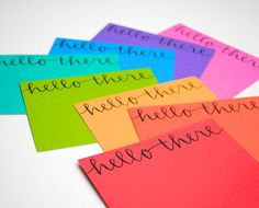Hello There Stationery Set . Modern Calligraphy . Black Ink on Bright Rainbow Colors . Set of 8 Notecards and Envelopes