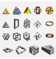 Impossible objects by Valkos, via Dreamstime Geometric 3d, Geometric Designs, Impossible Shapes, Acid Art, Graphic Design Tools, Mc Escher, Math Art, Illusion Art, Op Art
