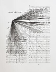 Marco Fusinato  Mass Black Implosion (Imaginary Landscapes No. 3, John Cage)  2009  Ink on archival facsimile of score  Private collection