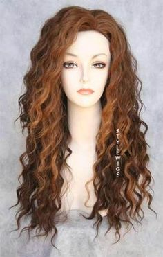 i like the color (Human Hair Blend Curly Red Brown Wig) Love Hair, Gorgeous Hair, Wavy Perm, Long Perm, Perm Curls, Spiral Curls, Loose Spiral Perm, Permed Hairstyles, Redhead Hairstyles