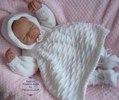 Baby Knitting Pattern - Download PDF Knitting Pattern - Dress, Bonnet, Booties…