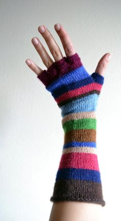Multistriped Wool Gloves - Color Blocking Gloves - Long Striped Gloves- Fall…