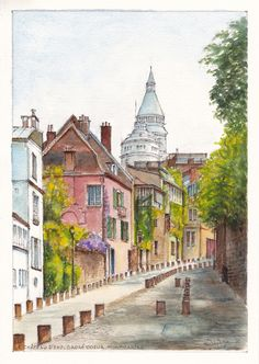 The Château d'Eau (Water Tower) and Sacré Coeur rise above houses in rue l'Abreuvoir, Montmartre, Paris.  Painting by Dai Wynn in pencil, ink and watercolours on 300gsm medium surface Arches french cotton paper. 29.5 cm high by 21 cm wide (11.75 inches by 8.25 inches) approximately - A4 standard size. Available for sale at $350.   data-pin-do=