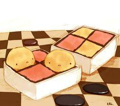 二色のケーキをマジパンで巻いたイギリスのお菓子。チェッカーボードケーキともいう。