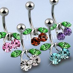 Cherry CZ set 316L Steel Navel Ring with Rhodium plated over Brass