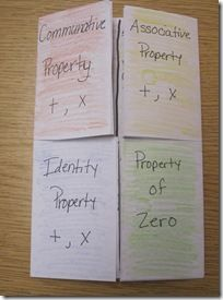 Math Properties foldable