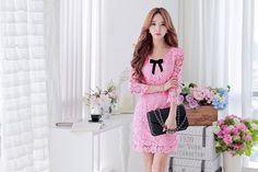 Morpheus Boutique  - Pink Bow Hollow Out Floral Hem Designer Dress