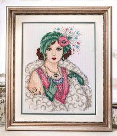 Deco lady, using Kreinik threads