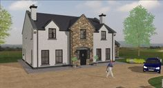 dorm104 House Designs Ireland, 2 Storey House Design, Rural House, My Ideal Home, House Layouts, Types Of Houses, Exterior Design, Building A House, House Plans