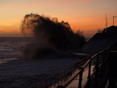 High Tide at Sunrise, Hornsea by Tom Wood East Yorkshire, High Tide, Natural World, Niagara Falls, Sunrise, Celestial, Wood, Nature, Travel