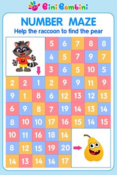 Counting Activity for Kids Number Maze 1-20