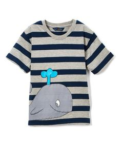 Another great find on #zulily! Blue Stripe Whale Tee - Boys #zulilyfinds