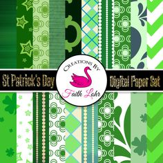 DESCRIPTION: This is a perfect collection of St Patricks Day themed digital papers. A collection like this is a valuable resource for so many projects from marketing, personal use, homeschooling, and more.
