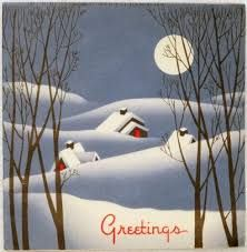Image result for vintage christmas cards snow covered houses