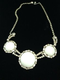 Schiaparelli Rare Milk Glass & Rhinestone Necklace