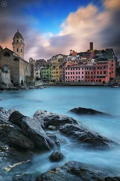 Sunrise composition at the small fisherman village called : Vernazza inside the famous Cinque Terre Nazionale Parc ( Liguria / Italy )
