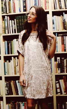 so crushed velvet dress - silver