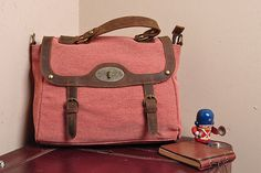 Superior Genuine Cow Leather canvas bag / leather by MUSE2013. $59.99