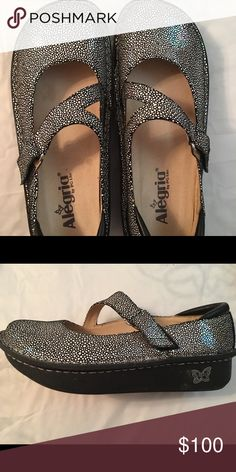 Algeria Danya shoes Algeria Danya shoes size 38, like new condition. I wore once for 12 hours, didn't like how they fit my foot. They are sparkly, silver that kind of rainbows at the right angle. Retails at $130. Alegria Shoes Mules & Clogs