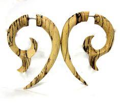 Fake Gauges earringstribal stylehand carvedwood by ANELAJADE