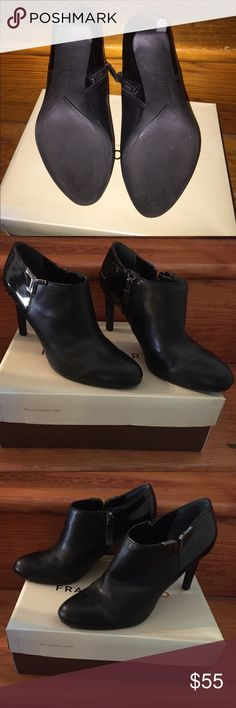 Worn once. Franco Sarto 7 1/2 Black Ankle Booties Worn once. Black Frama Ankle Booties 3 1/2 heel Franco Sarto Shoes Ankle Boots & Booties
