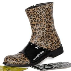 Discount Brown Animal Print Emo Punk Gothic Fashion Ankle Boots Men SKU-1280366