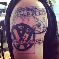 Volkswagen tattoo, half sleeve. VW bus