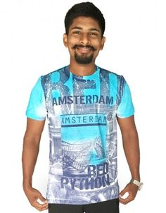 110e2d152bdd Buy Printed Men s Round Neck SkyBlue Colored T-Shirt at low prices in India  only